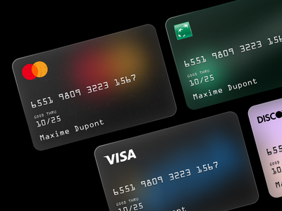 Cards 💳 bank creditcard minimalist blurred background ios ui glassy cards design