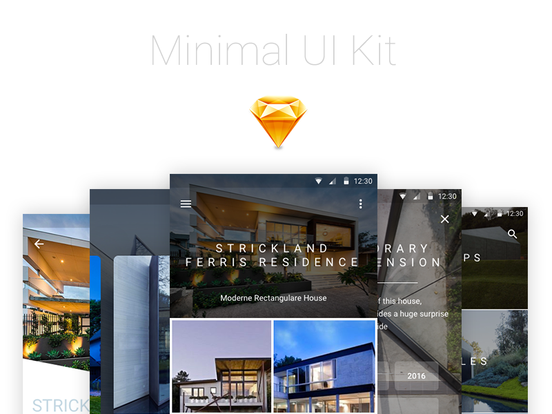 Minimal UI Kit personal commercial free kit ui material design android design sketch freebies
