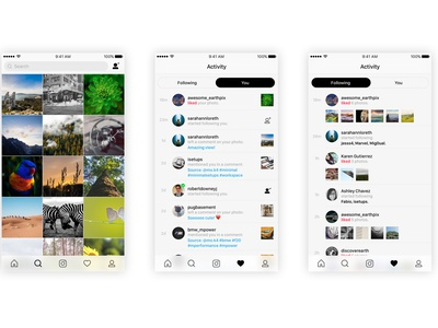 Instagram UI Kit instagram concept ios ui ux kit free freebie