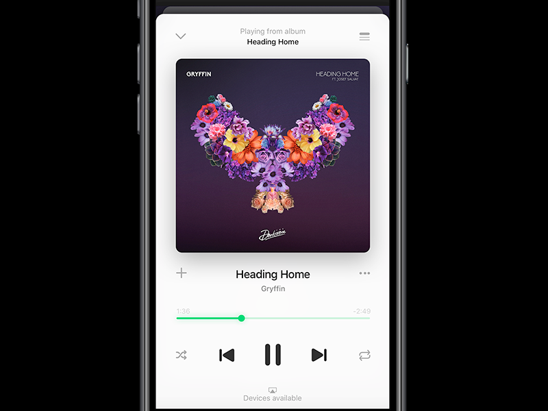 Spotify Player on iOS 10 by Mohamed Kerroudj for LINITIX on
