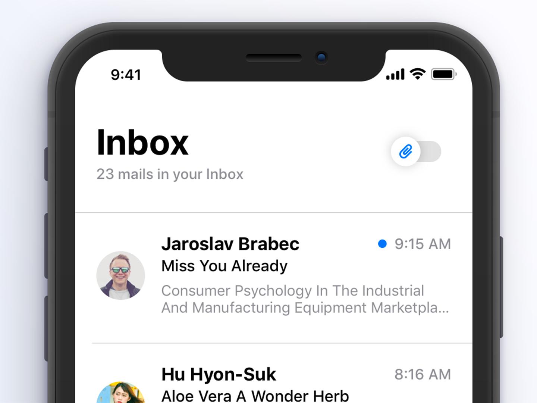 Inbox 💌 iphone x design minimal app concept ios 11 email app inbox