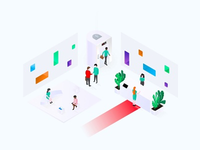 🙌🏼Impress visitors vector sketch office desk lobby procreate perspective isometric illustratio design characters