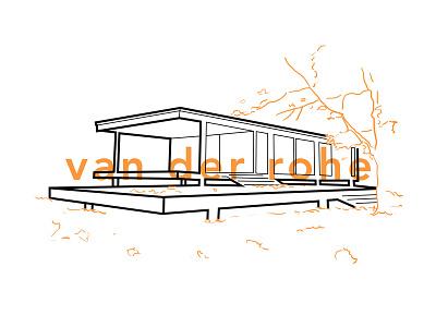 Mies van der Rohe Farnsworth House ludwig mies van der rohe type illustration modern architecture