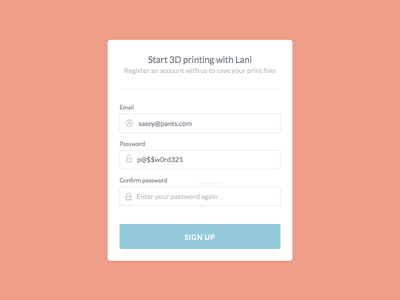 Sign-up form button card challenge 3d printing ux form daily ui sign up