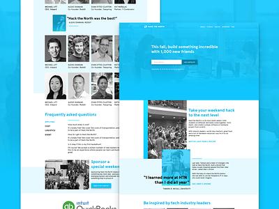 Seeking feedback saturation rectangle geometric university tech blue marketing landing page product design ux hackathon hack the north