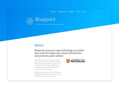 Blueprint webpage university gear blueprint gradient blue marketing website diagonal