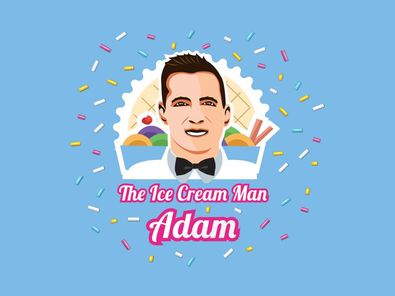 Ice Cream Man Adam oreo ice cream van summer milkshake sweets food foodie gelato cake brownie chocolate sprinkles vector branding logo desserts sweet dessert ice cream ice cream man