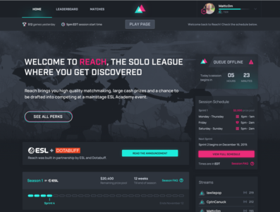 Reach.gg | Dota 2 Matchmaking Service reach leaderboard dark ui vaporwave dynamic queue ranking tournament league homepage website dota esports gaming
