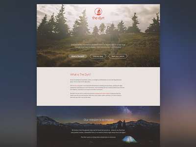 The Dyrt - Homepage homepage camping outdoors adventure dyrt client the dyrt web design open sans google fonts