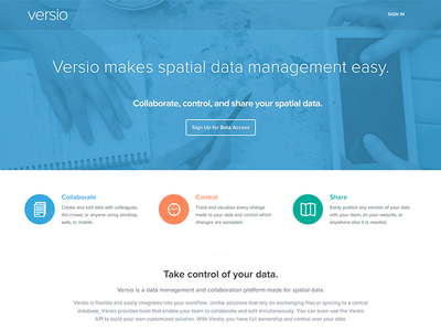 Versio Homepage marketing homepage spatial data gis landing page home page proxima nova