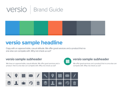 Versio Brand Guide (very early) style guide colors typography brand guide proxima nova