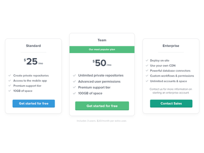 Pricing Sheet ui flat pricing marketing button style