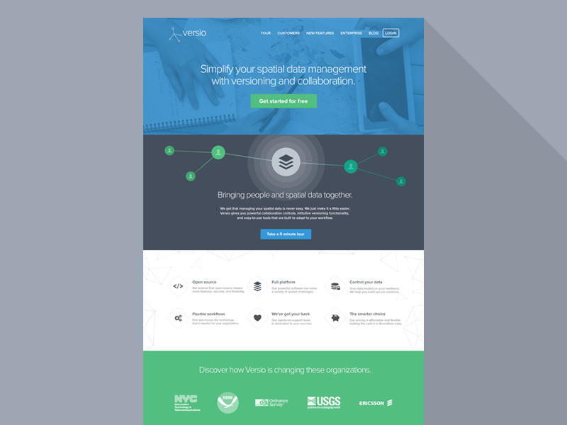Versio Homepage v2 marketing homepage landing page website one page flat colors