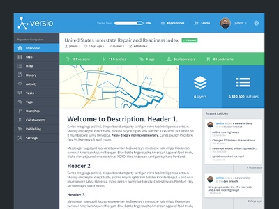 Versio UI - Overview Page history repository versio ui flat flat style interface product design product overview open sans map