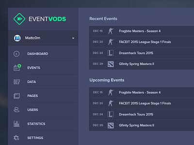 EventVODs Dashboard Overview event vods eventvods events gaming dark ui dark colors backend dashboard ui