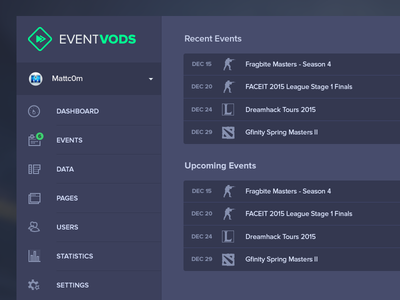 EventVODs Dashboard Overview event vods eventvods events gaming dark ui dark colors backend dashboard ui