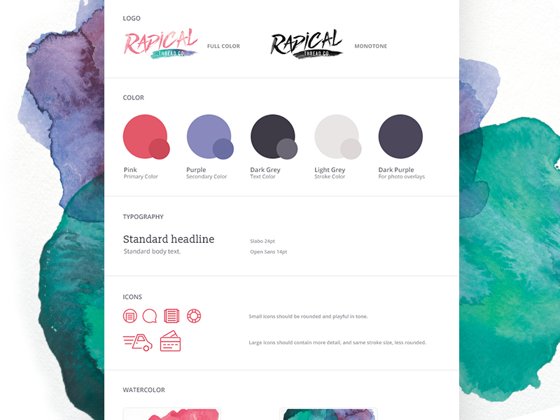 Radical Thread Style Guide watercolor pink bright typography colors brand guide style guide rebrand radical thread