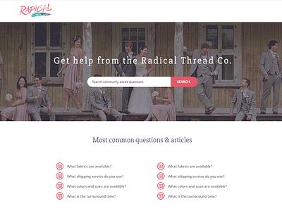 Radical Thread - Help Center Mockup pink radical thread search article list help center help