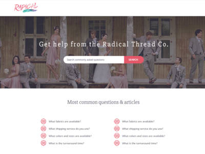 Radical Thread - Help Center Mockup pink radical thread search article list help center help