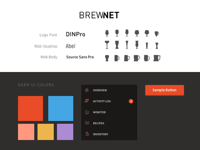 Brewnet   Style Guide button style dark ui brewnet colors style guide