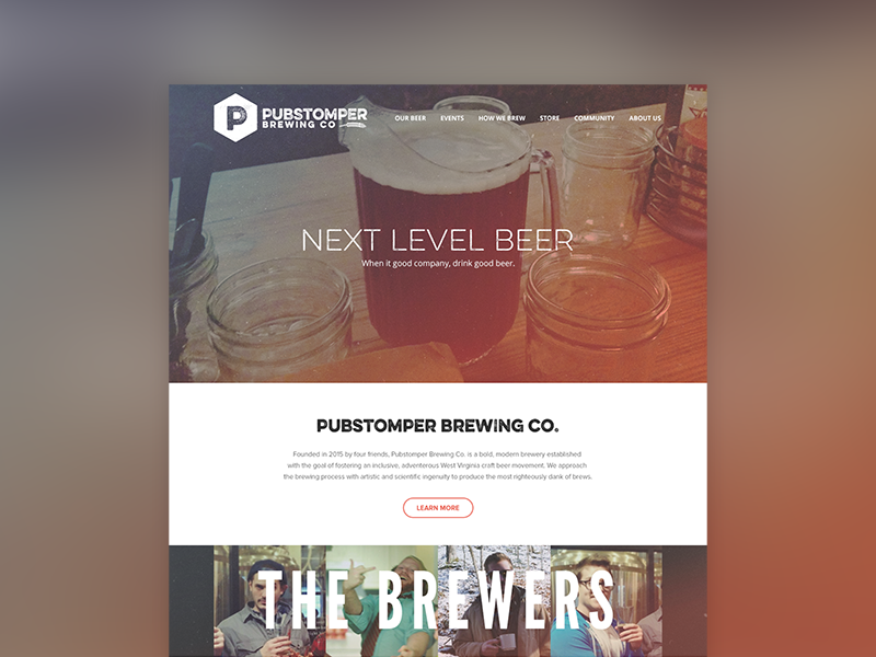 Pubstomper Website - Homepage web design brewing company brewing beer pubstomper