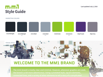 mm1 style guide style guide branding green esports gaming mm1
