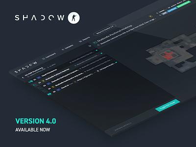Shadow CSGO 4.0 Release isometric data analysis esports sidebar promo product gaming games csgo shadow dark ui dark colors dark flat ui