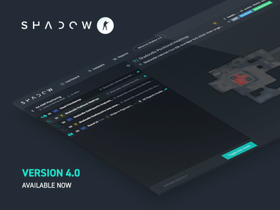 Shadow CSGO 4.0 Release isometric data analysis esports sidebar promo product gaming games csgo shadow dark ui dark colors dark flat ui