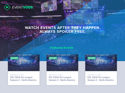 Event Vods Landing Page card ui card cards gaming esports event vods single page landing page marketing