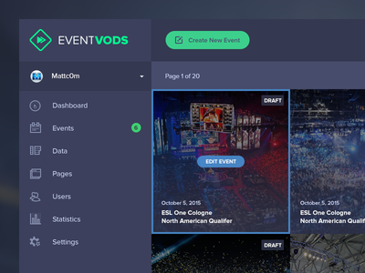 Event Vods UI editor dashboard vod event event management backend esports gaming event vods ui