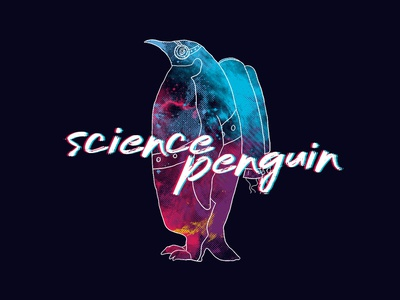 Science Penguin space penguin brand dark pink typography handwriting halftone logo band