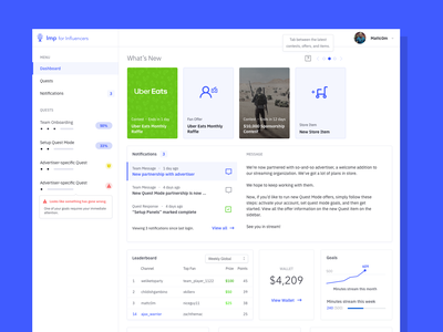 A dashboard for content creators gaming stroke heavy blue flat design single color dashboard ui ui dashboard