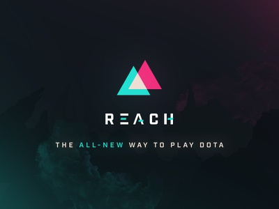 Reach Announcement Graphic logo cinematic teal pink vaporwave triangles matchmaking announcement graphic marketing dota 2 dota gaming esports reach