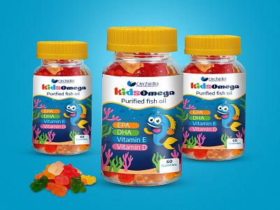 Kidsomega packaging design for kids omega 3 packaging design supplement packaging design medicine packaging