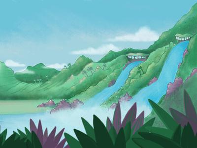 Waterfalls digital illustration landscape illustration