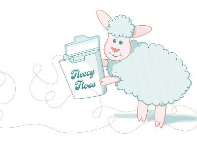 Fleecy Floss wordplay cute playing digital illustration illustration