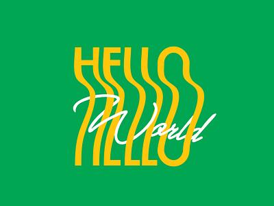 Hello Word bright colors happy summer shirt design white yellow green brazil logo design entangled hello world world hello words logo