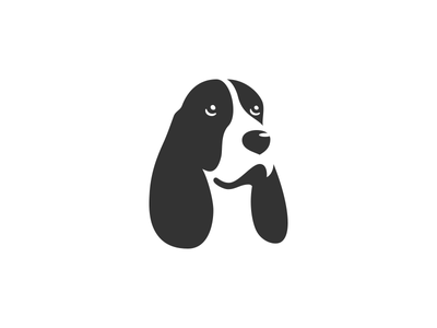 Dog logo positive space negative space black and white english cocker spaniel dog