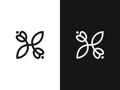 H lettering symbol mark logo flowers leaf tulip monogram letter h