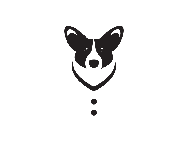 Corgi Cardigan minimalism illustration logo positive space negative space black and white cardigan corgi dog