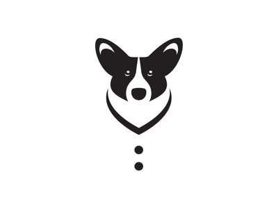 Corgi Cardigan minimalism illustration logo positive space negative space black and white cardigan corgi dog