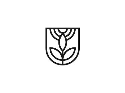 Nature lines logo minimalistic sun shield plant