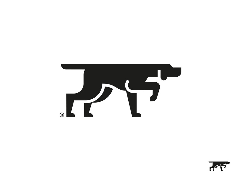 Pointer vector geometry symbol mark logo sniffing hunting bird dog pointing pointer dog
