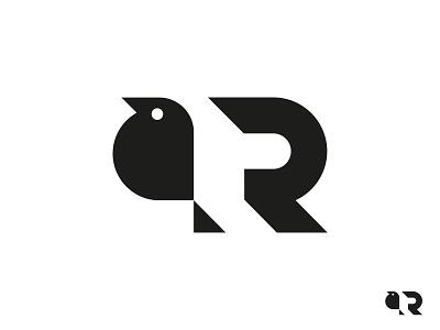 Robin letter logotype minimalism minimal mark logo design geometry bird robin