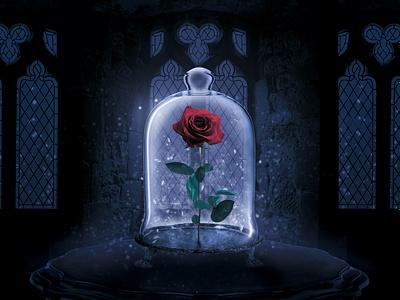 Frozen Rose poster art photomanipulation beautyandthebeast dark snow rose