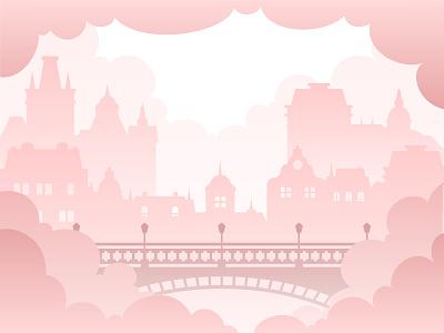 The village cloudy bridge classic vector art