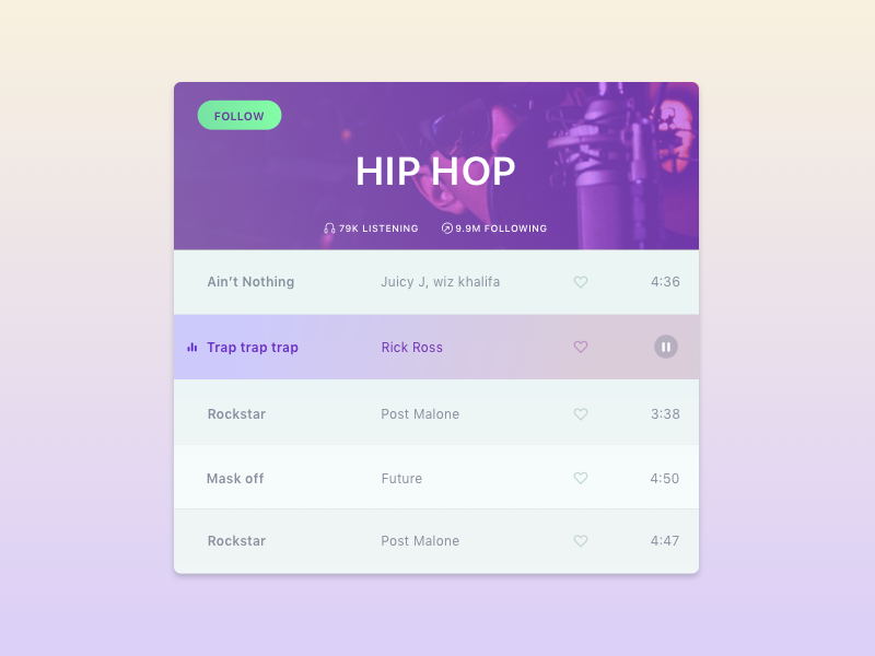 Music genre player by Andy Liu on Dribbble