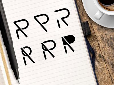 Rr lettering flat vector design icon branding typography ilustrasi logo tipografi desain