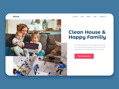 A Home Cleaning Service Website webdesign design clean ui landing page clean uidailychallenge ux ui