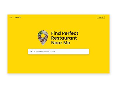 Nearest Restaurant Finder minimalist clean webdesign website restaurants food landingpage uidesign design ux ui